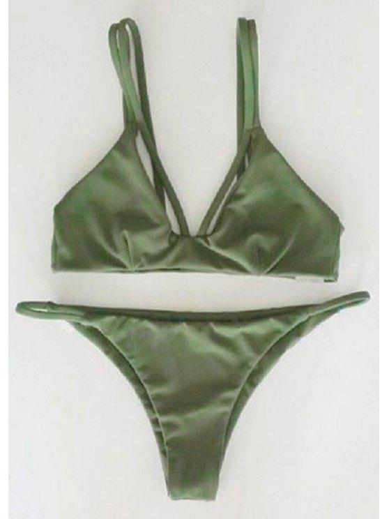 chic Alluring Spaghetti Strap Scrunch Bikini Set - GREEN S