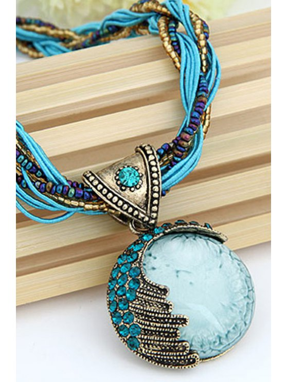 Faux Gem Multilayered Ethnic Style Necklace -   Mobile