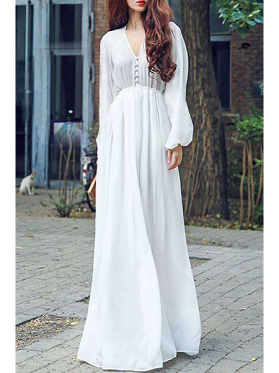 shop High Waisted V-Neck Long Sleeve Chiffon Maxi Dress - WHITE M