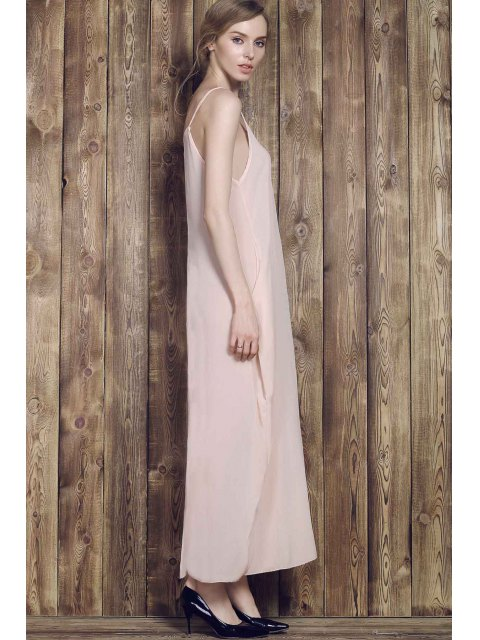 unique Solid Color Cami Maxi Dress - APRICOT M Mobile