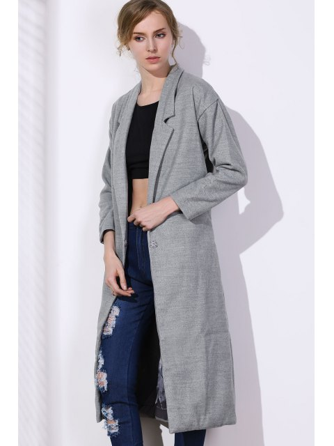 new Lapel One Button Solid Color Trench Coat - GRAY M Mobile