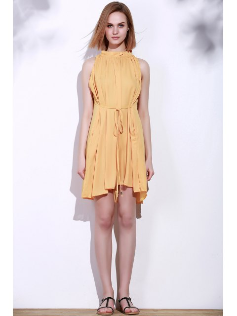 buy Round Neck Ruffle Tie-Up Sleeveless Dress - DEEP YELLOW L Mobile