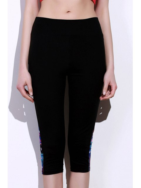 new Side Panel Skinny Capri Pants - BLUE AND BLACK S Mobile