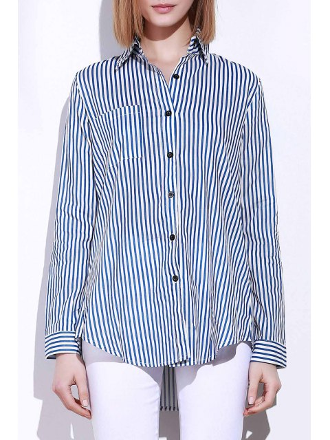 buy Blue White Stripes Long Sleeve Shirt - BLUE AND WHITE S Mobile