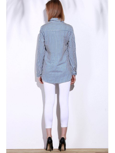 womens Blue White Stripes Long Sleeve Shirt - BLUE AND WHITE M Mobile