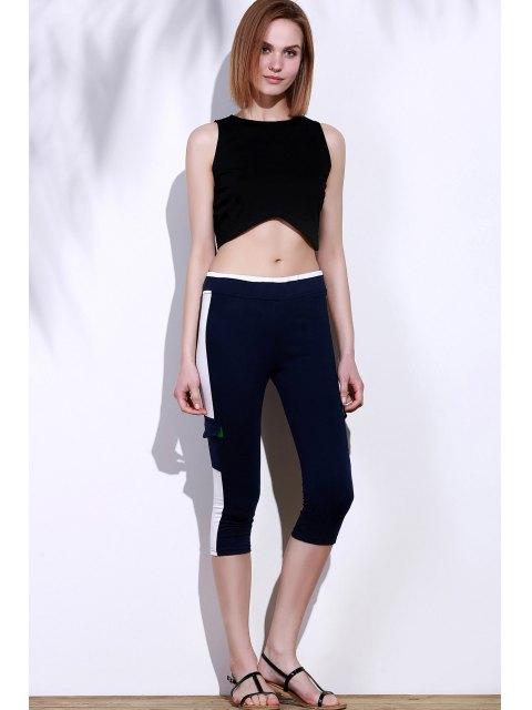 fashion Elastic Waist Color Block Capri Yoga Pants - PURPLISH BLUE M Mobile