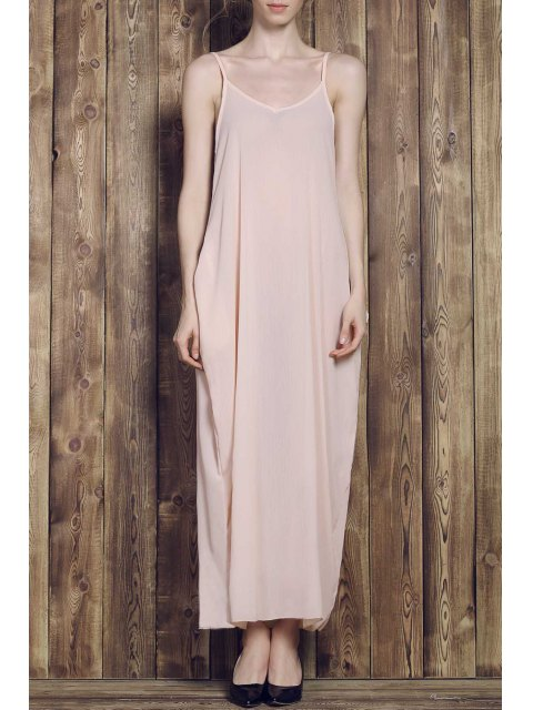 affordable Solid Color Cami Maxi Dress - APRICOT L Mobile