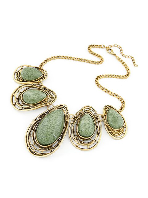 new Faux Gem Water Drop Retro Style Necklace - GREEN  Mobile