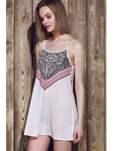 online Spaghetti Strap Stripes Print Sleeveless Dress - WHITE S Mobile