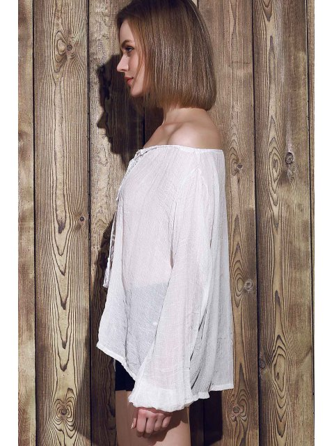 new Lace Panel Tied Tassel Sheer Top - WHITE M Mobile