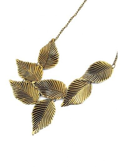 Leaf Shape Retro Style Necklace - GOLDEN  Mobile