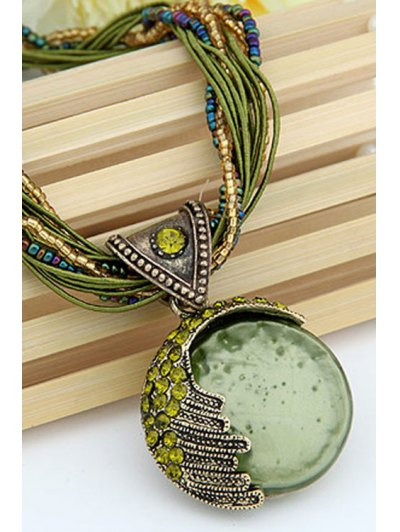 Faux Gem Multilayered Ethnic Style Necklace - GREEN  Mobile