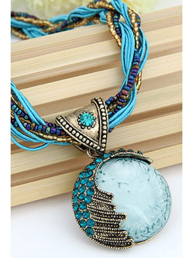Faux Gem Multilayered Ethnic Style Necklace - BLUE  Mobile