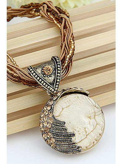 Faux Gem Multilayered Ethnic Style Necklace - WHITE  Mobile