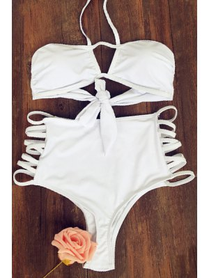 Cut Out High Rise High Waisted Swimsuit - White