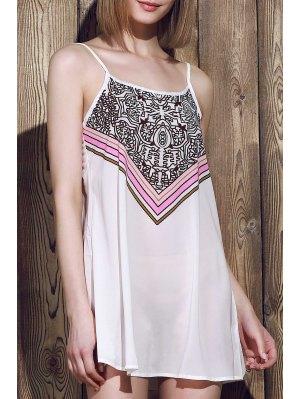 Spaghetti Strap Stripes Print Sleeveless Dress - White L