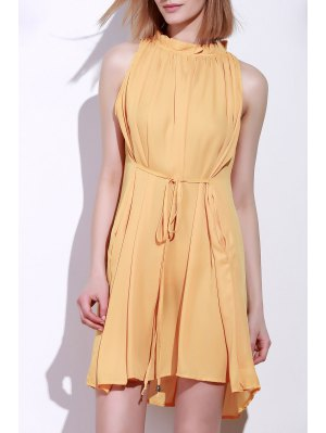 Round Neck Ruffle Tie-Up Sleeveless Dress