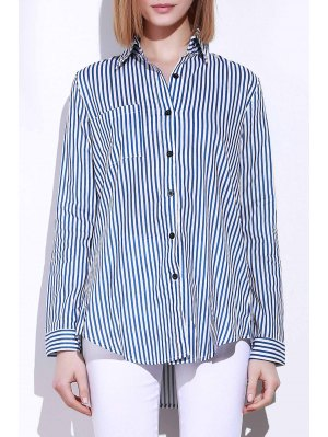 Blue White Stripes Long Sleeve Shirt - Blue And White