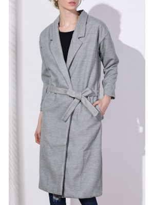 Lapel One Button Solid Color Trench Coat