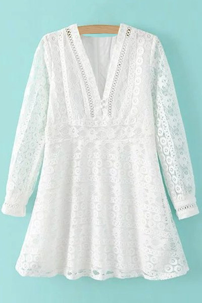 Plunging Neck Long Sleeve White Cut Out Lace Dress