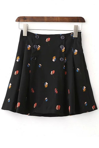 Double-Breasted Floral A Line Skirt