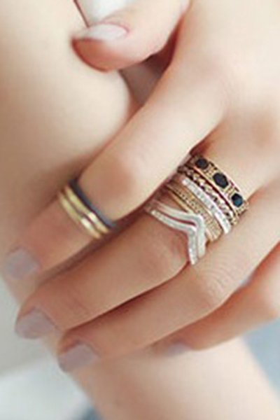 Rhinestone Faux Gem Retro Rings For Women