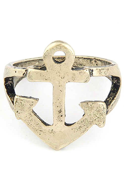 Hollow Out Boat Anchor Shape Ring