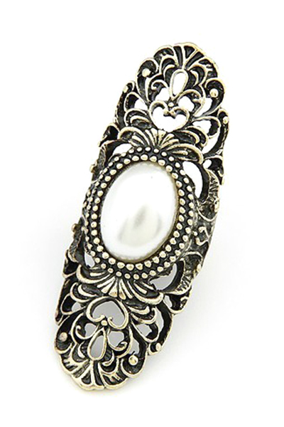 Faux Pearl Hollow Out Retro Ring