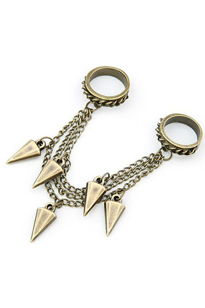 Triangle Cone Chain Pendant Double Rings