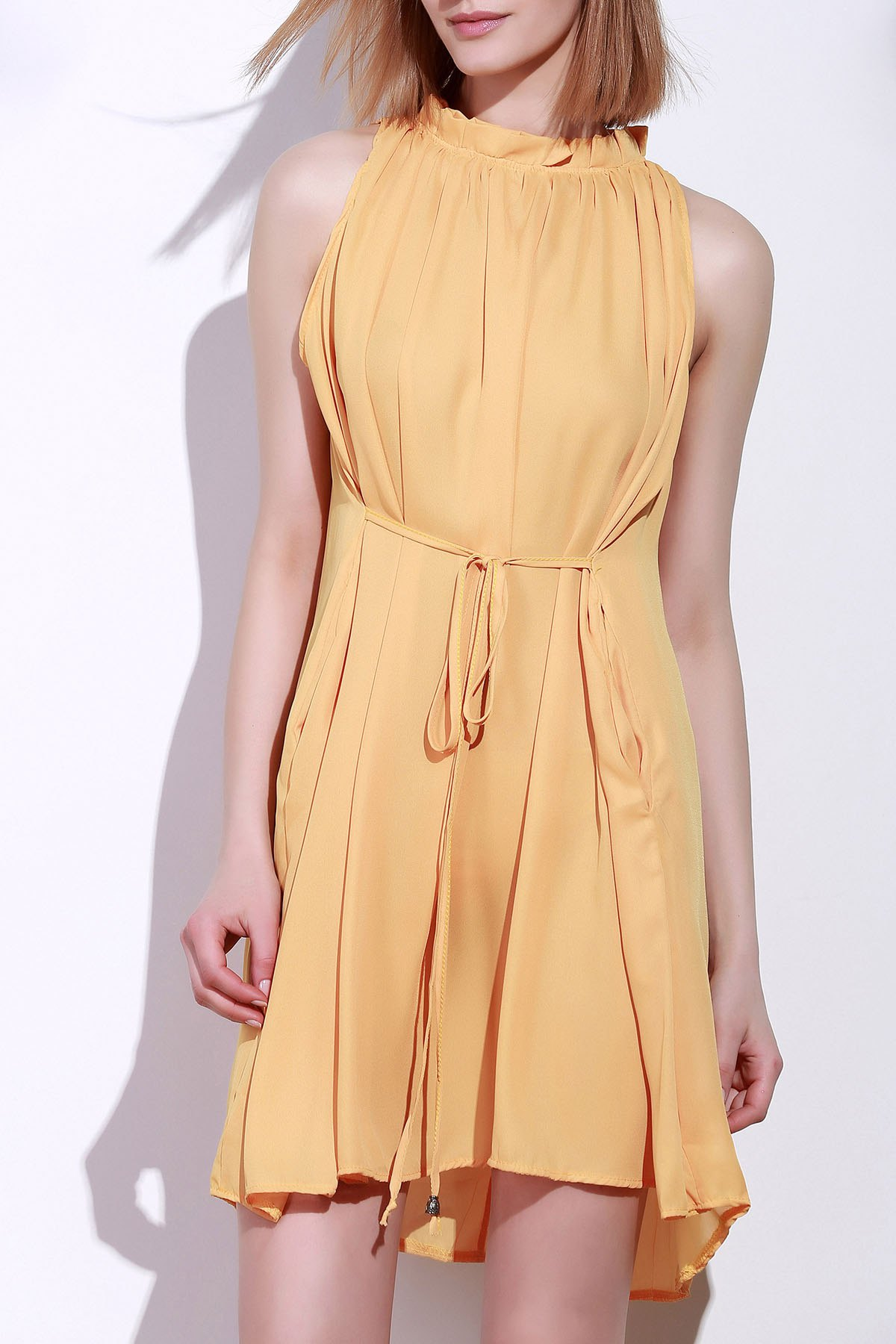 Round Neck Ruffle Tie-Up Sleeveless Dress - DEEP YELLOW S