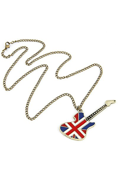Union Flag Guitar Pendant Sweater Chain