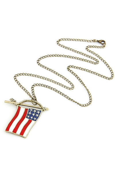 Stars and Stripes Flag Pendant Sweater Chain