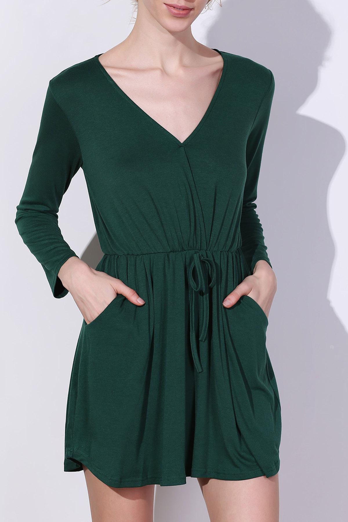 V Neck Long Sleeve Green Dress