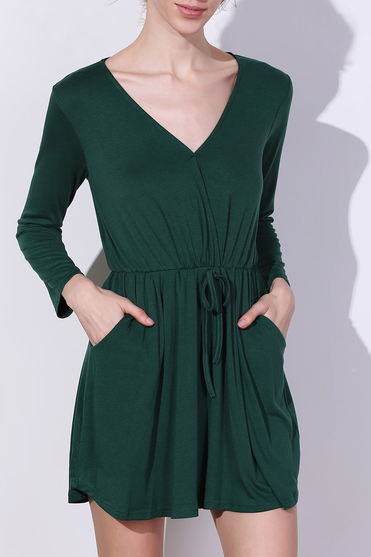 Green V Neck Long Sleeve Dress - GREEN S