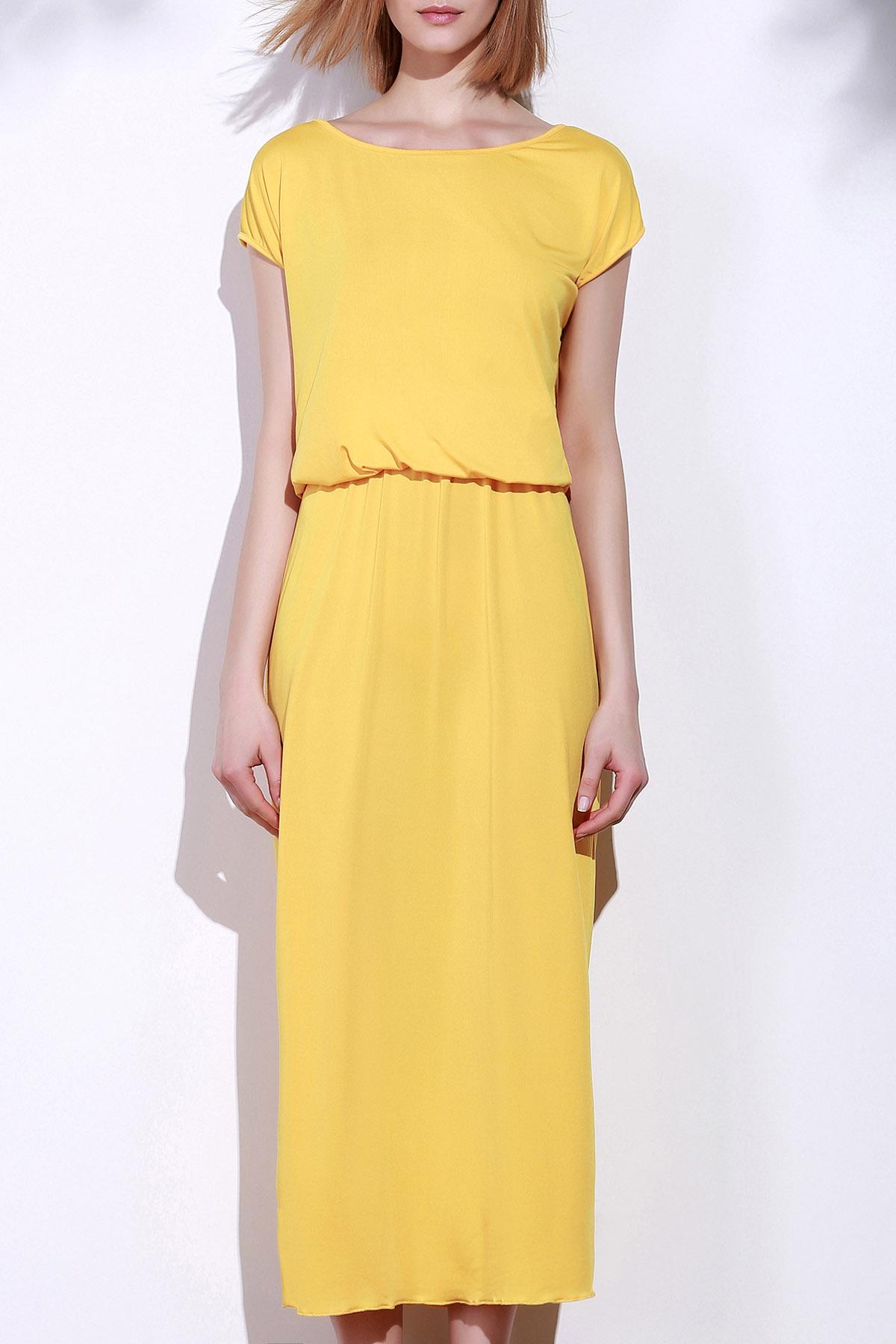 Yellow Oblique Shoulder Maxi Dress