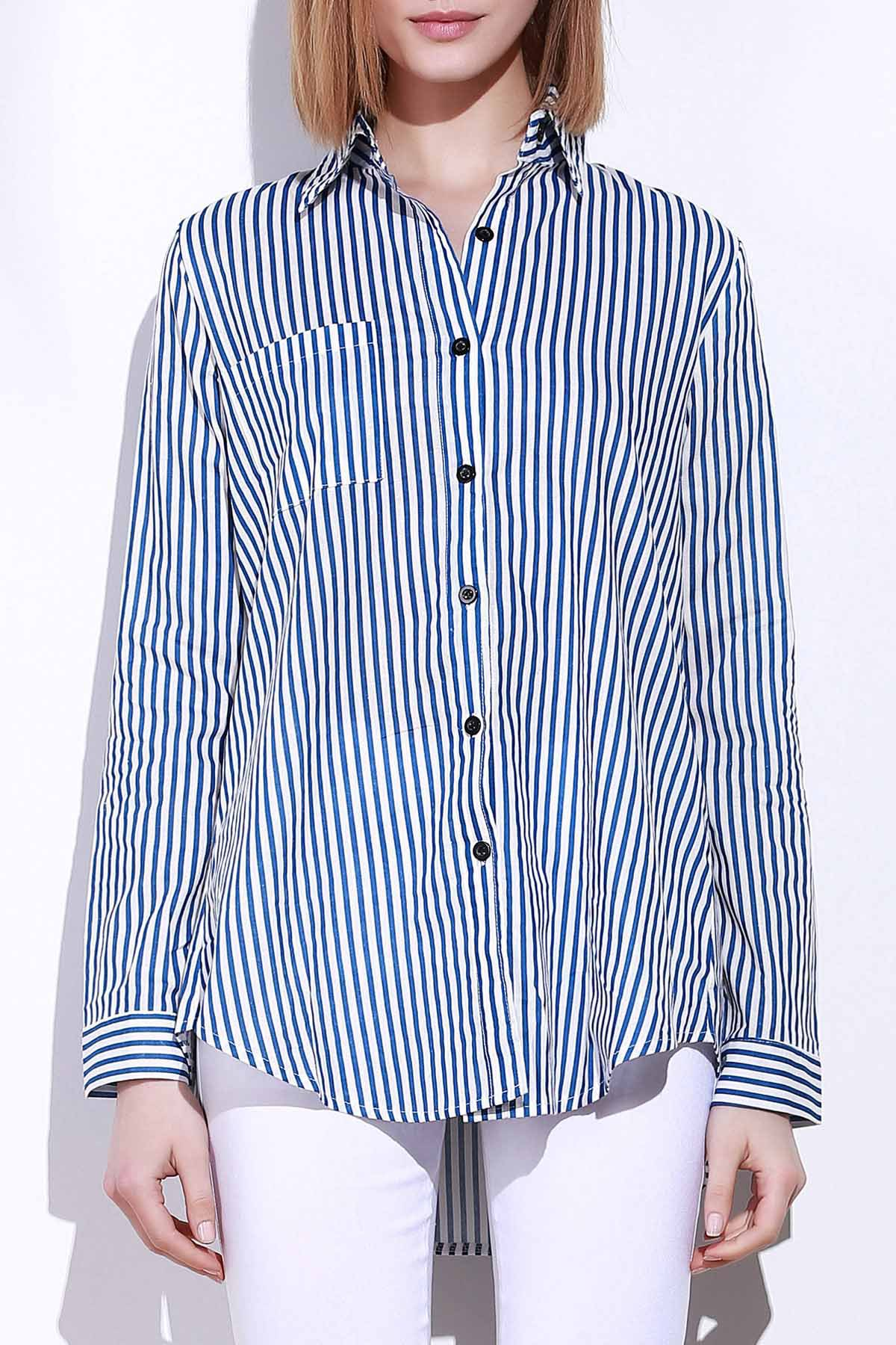 Blue White Stripes Long Sleeve Shirt 144905102
