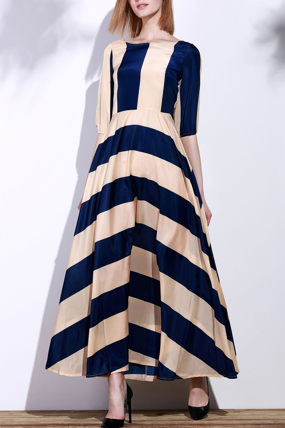 Striped Scoop Neck 3/4 Sleeve Maxi Dress - DEEP BLUE S