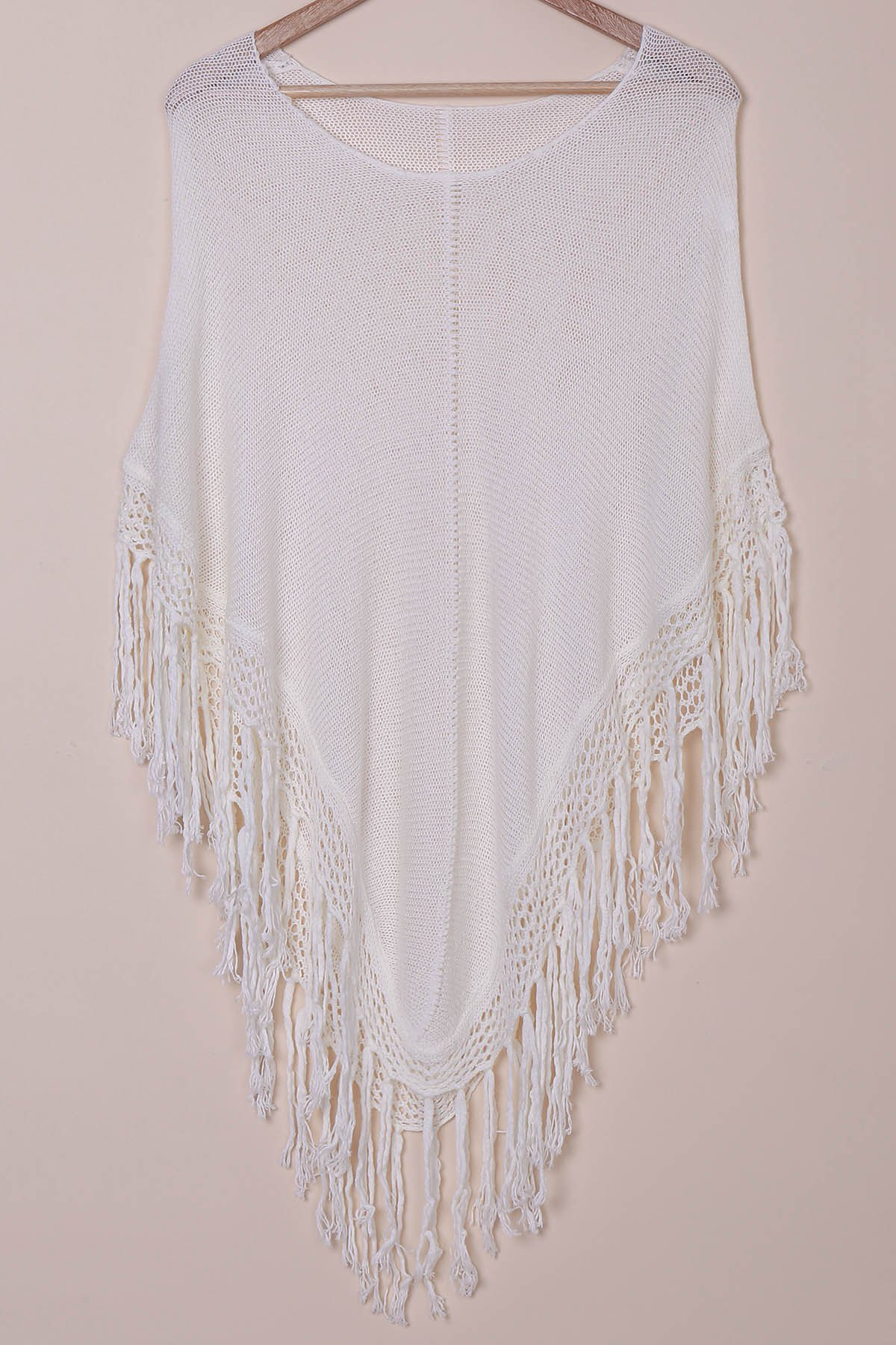 Scoop Neck Tassels Cape Cover-Up