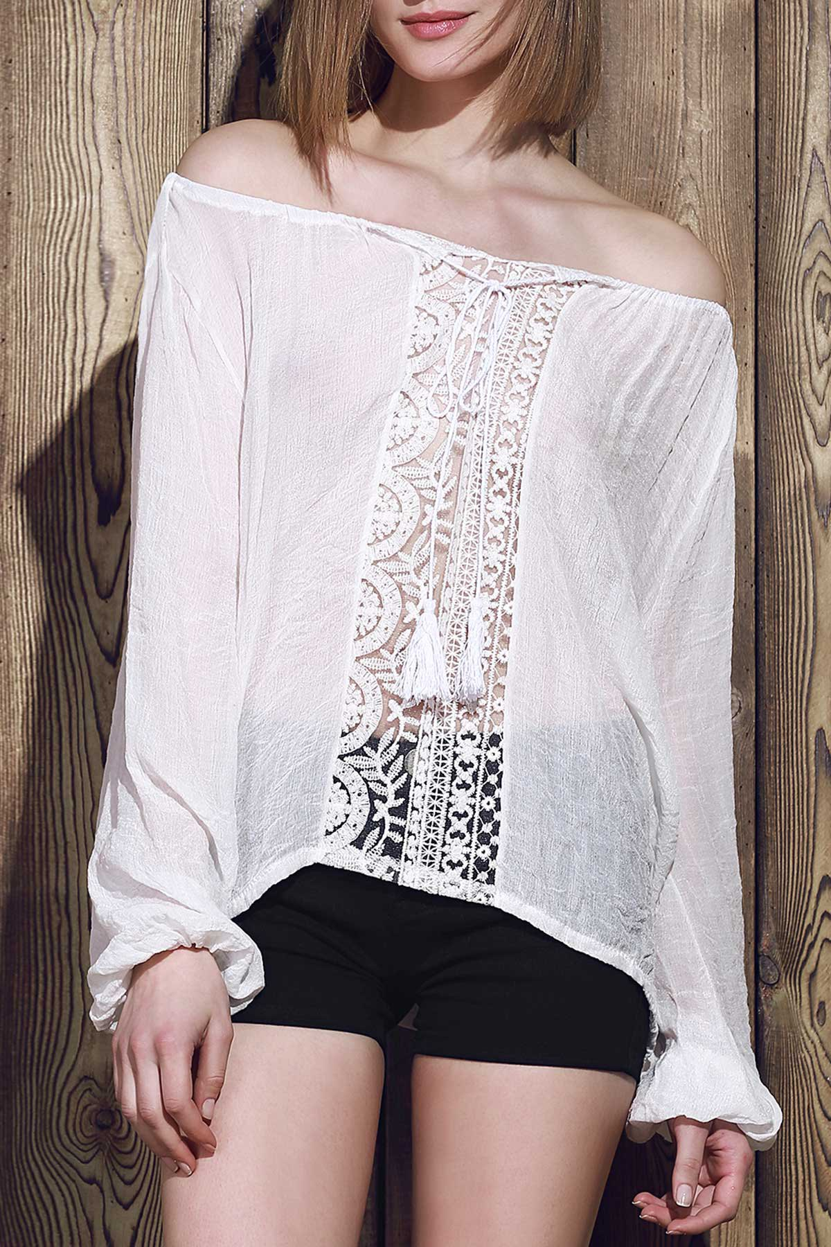 One Shoulder Lace Splicing Long Sleeve T-Shirt