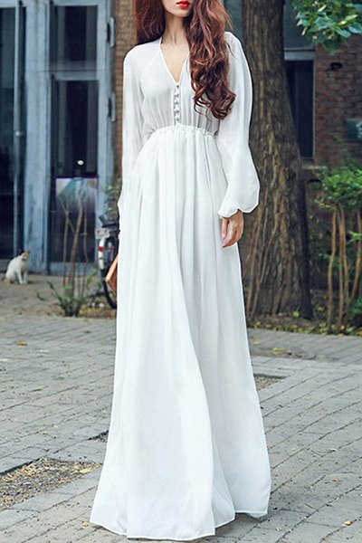 V-Neck Long Sleeve Chiffon High Waisted Maxi Dress