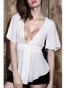White Plunging Neck Short Sleeves Chiffon Blouse