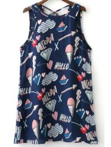 Ice Cream Print Round Neck Mini Sundress