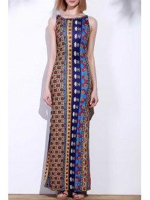 Cross Floral Print Sleeveless Dress