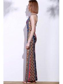 Cross Floral Print Sleeveless Dress - RED S