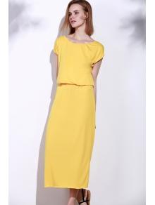 Yellow Oblique Shoulder Maxi Dress - YELLOW S