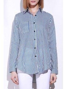 Blue White Stripes Long Sleeve Shirt - Blue And White M