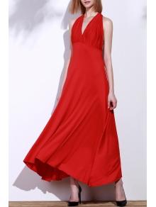 Red Sleeveless Convertible Maxi Dress
