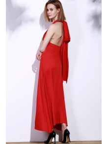 Red Sleeveless Convertible Maxi Dress - RED S