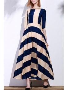 Striped Scoop Neck 3/4 Sleeve Maxi Dress