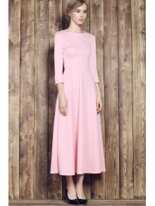 Pink Round Neck Half Sleeve Maxi Dress - PINK S
